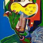 Autoportrait- Acrylique sur toile de jute - 100 x 130 cm - 1978