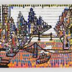 La baie de New York - Acrylique sur toile - 174 x 44 cm - 1995