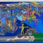 Les chevaux de bois - Acrylique sur bois et zinc - 60 x 42 cm - 1991