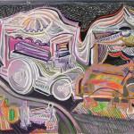 Enterrement en première classe - Acrylique sur toile 35 x 25 cm - 1990