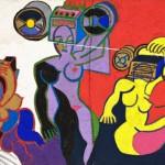 Femme transistor - Acrylique sur toile de jute - 120 x 87 cm - 1987