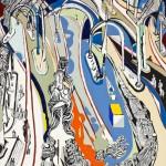 La gare de Milan sous la neige - Huile sur toile - 100 x 130 cm - 1985
