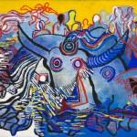 Le bœuf de Mèze - Acrylique sur jute - 120 x 89 cm - 1990