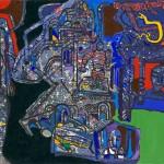 Le monde est là Mandela - Acrylique sur jute - 120 x 87 cm - 1987