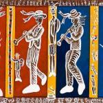 Les musiciens de joutes - Acrylique sur bois - 140 x 90 cm - 2002