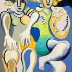 Les soeurs jumelles - Huile sur toile - 100 x 130 cm - 1982