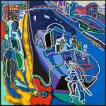 Les scaphandriers à Venise - Acrylique sur toile - 95 x 110 cm - 1993